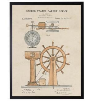 Watercolor Patent Ship Wheel