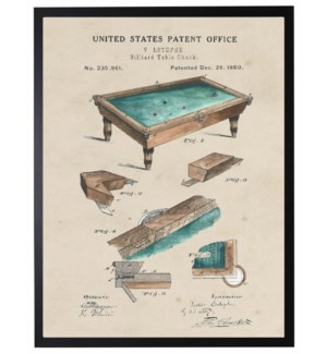 Watercolor Patent Pool Table