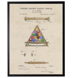 Watercolor Patent Pool Ball Frame