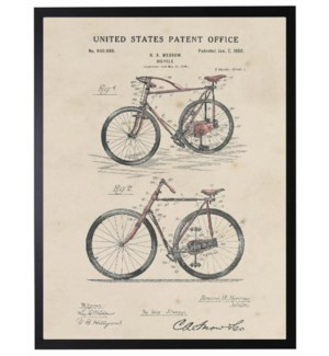 Watercolor Patent Red Bicycle