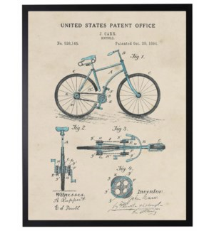 Watercolor Patent Blue Bicycle