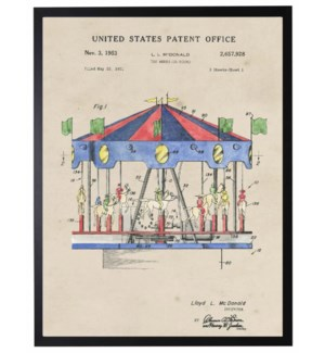 Watercolor Patent Merry-Go-Round