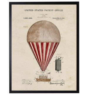 Watercolor red striped hot air balloon patent