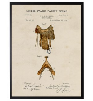 Watercolor Patent Western Saddle