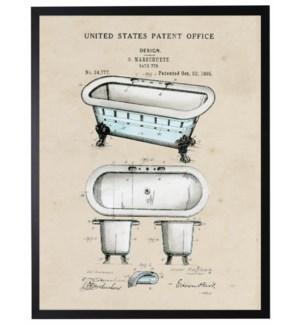 Watercolor blue bathtub patent