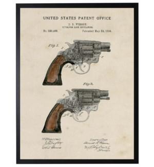 Watercolor brown revolver patent