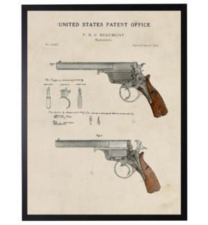 Watercolor brown handgun patent