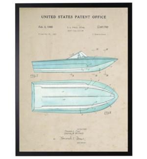 Watercolor blue ski boat patent