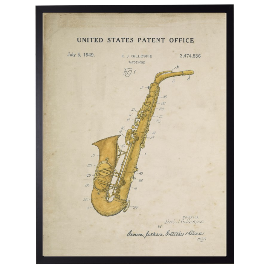 Watercolor Saxaphone Patent