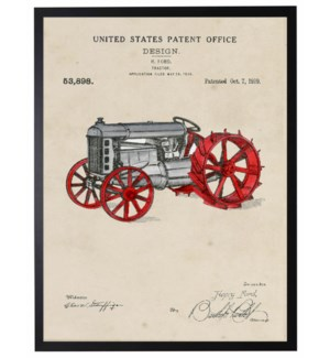 Watercolor tractor with red wheels patent