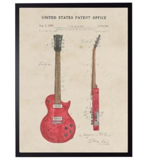 Watercolor Red Guitar Patent