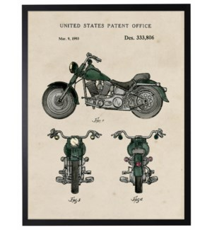 Watercolor green motocycle patent
