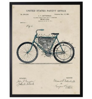 Watercolor blue vintage Indian motorcycle patent