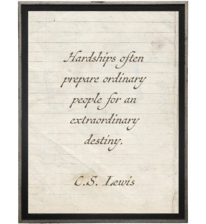 Hardships often prepare…Lewis quote on lined paper