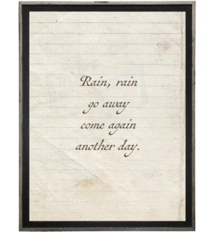 Rain,rain go away…quote on lined paper