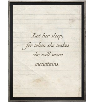 Let her sleep…quote on lined paper
