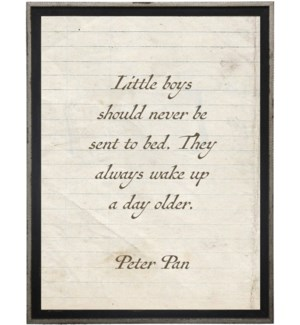 Little boys should never…Peter Pan quote on lined paper