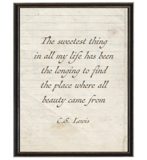 Sweetest thing quote C.S. Lewis on lined paper