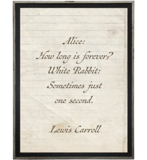 Alice how long…Lewis Carroll quote on lined paper