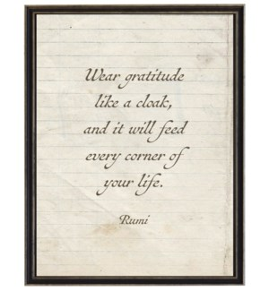 Rumi gratitude quote on lined paper