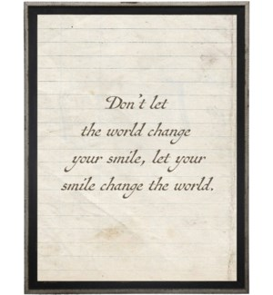 Don't let the world…quote on lined paper