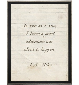 As soon as I saw you…Milne quote on lined paper