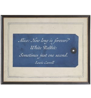 Lewis Carroll Alice quote on navy tag