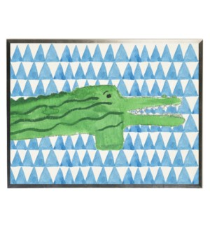 Watercolor alligator on blue geometric background
