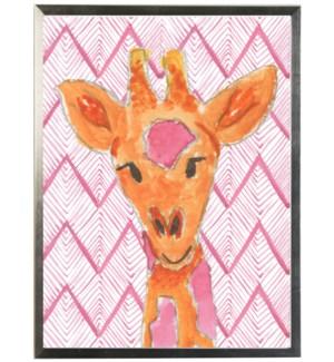 Watercolor Giraffe on geometric pink background