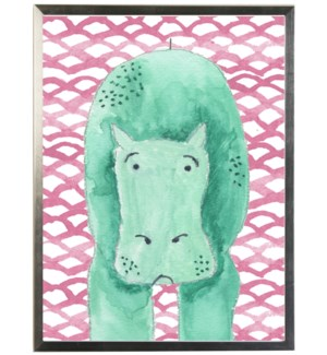 Watercolor hippo on geometric background