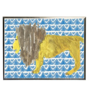 Watercolor Lion on blue geometric background