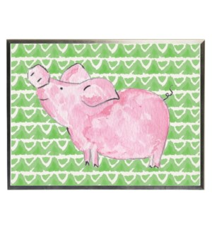 Watercolor pig on green geometric background