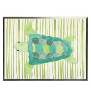 Watercolor turle on striped background