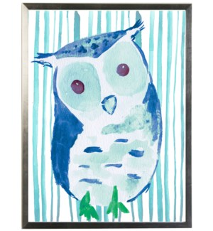 Watercolor owl on striped background