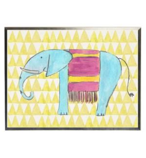 Watercolor elephant on yellow geometric background