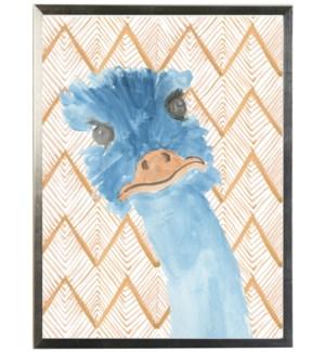 Watercolor emu on orange geometric background