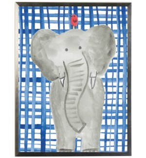 Watercolor Elephant on navy plaid background