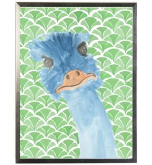 Watercolor emu on geometric background