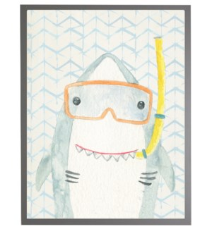 Watercolor shark with geometric background A