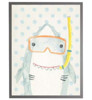 Watercolor shark with geometric background B