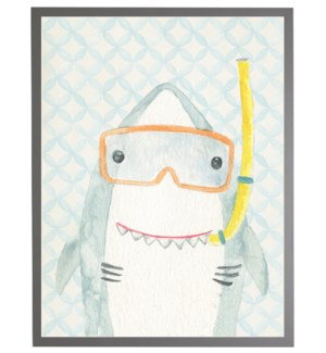 Watercolor shark with geometric background C