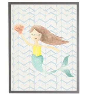 Watercolor mermaid with geometric background A