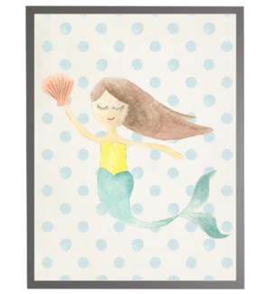 Watercolor mermaid with geometric background B
