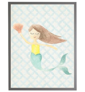 Watercolor mermaid with geometric background C