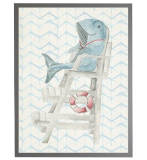 Watercolor whale lifeguard with geometric background A