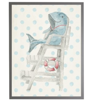 Watercolor whale lifeguard with geometric background B