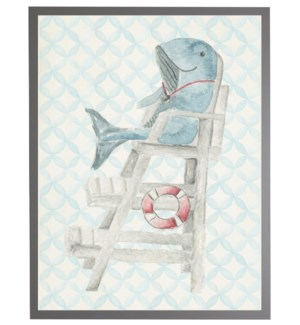 Watercolor whale lifeguard with geometric background C