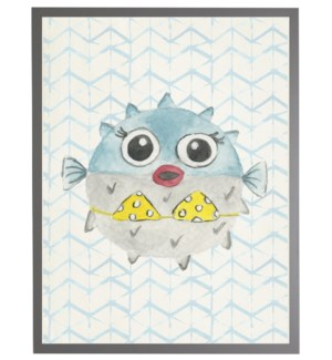Watercolor blowfish with geometric background A