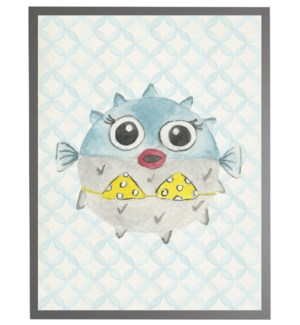 Watercolor blowfish with geometric background C
