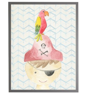 Watercolor pirate with geometric background A